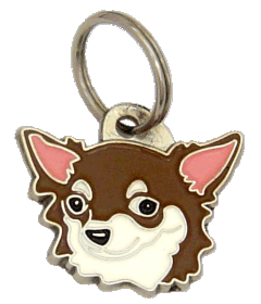 CHIHUAHUA LONG HAIRED WHITE BROWN - pet ID tag, dog ID tags, pet tags, personalized pet tags MjavHov - engraved pet tags online